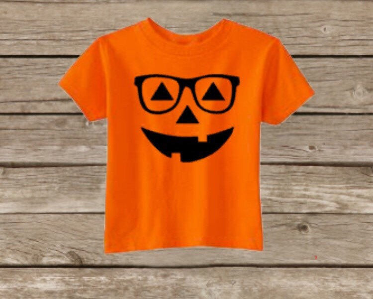 Kids Halloween Pumpkin Shirt, Toddler Halloween Shirt, Happy Halloween, Glasses Hipster
