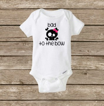 Girls Halloween Baby Onesie, Bad To The Bow Bone, Girl Skull, Rockabilly