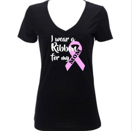 I Wear A Ribbon For My Mom, Breast Cancer Awareness, Pink Ribbon, Women's Shirt
