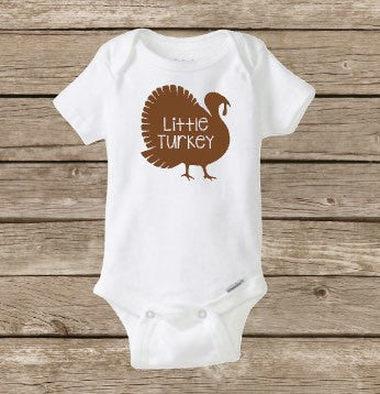 Little Turkey, Happy Thanksgiving, Fall Baby Onesie, Thanksgiving Onesie, Baby Shower