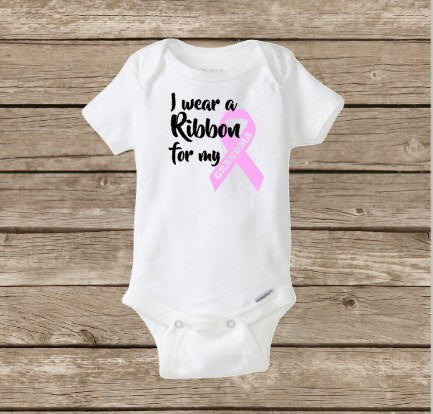 Breast Cancer Awareness Baby Onesie, Pink Ribbon