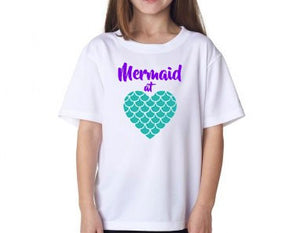 Girls Mermaid at Heart Shirt, Disney's Little Mermaid, Princess Ariel, Seashells