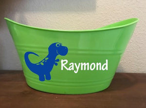 Personalized Kids Toy Bucket, Dinosaur Basket, Gift Basket, Holiday Basket, Organization, Storage, Gift for Kids