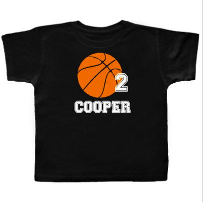 Basketball Birthday Shirt, Boys Sports, Custom with Name and Age