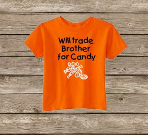 Children Trick or Treat,Boys Star Candy Kids Halloween Shirt Funny Halloween free Boy Halloween shirt will Trade Sister For Candy