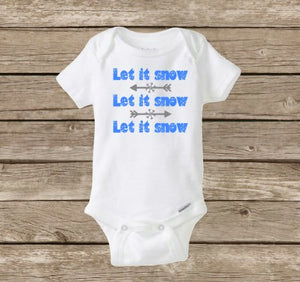Let It Snow Baby Onesie, Christmas Snowflakes
