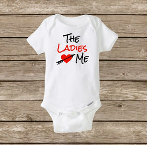 Boys Valentine's Day Onesie, The Ladies Love Me, Baby's First