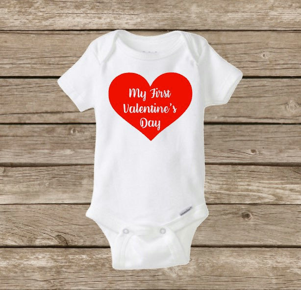 My First Valentine's Day, Baby Onesie, Baby's First