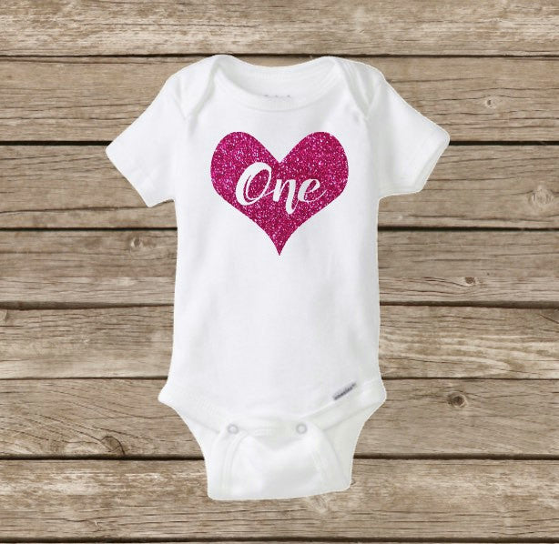 First Birthday Baby Onesie Girl Princess ONE Shirt Valentines Day
