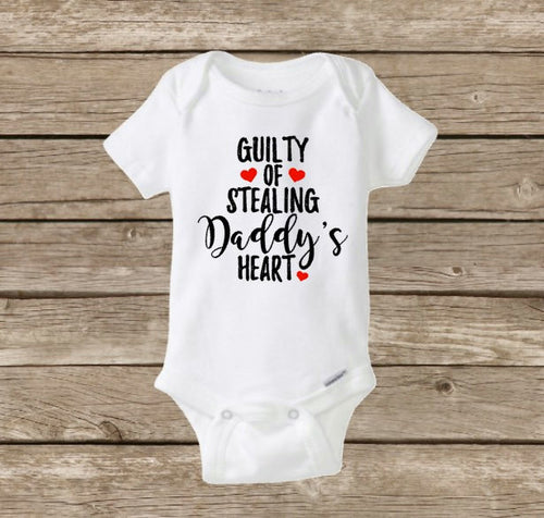 Valentine's Day Baby Girl Onesie, Guilty of Stealing Daddy's Heart, My First Valentine's Day