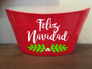 Feliz Navidad Basket, Merry Christmas Basket, Christmas Gift, Goody Basket, Bucket, Organization, Storage, Holiday Decor