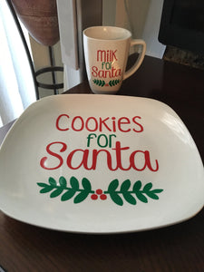 Cookies & Milk for Santa, Decorative Plate, Mug, Merry Christmas, Plate and Cup Set