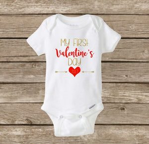 My First Valentine's Day 2018, Baby's First, Baby Girl Onesie