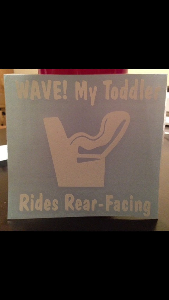 Rides Rear Facing Sticker Decal, Toddler & Baby, Kids Car Seat Vinyl Sticker, Car Window Decal
