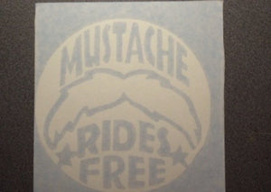 Mustache Rides Free Sticker Decal, Funny Vinyl Sticker Decal for Car