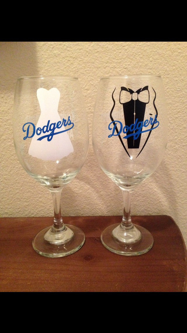 Dodgers Wedding Wine Glass SET of 2, Wedding Gift, Baseball
