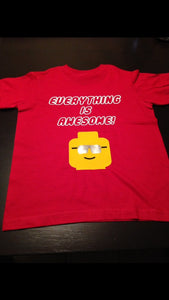 Boys Lego Shirt | Everything is Awesome Lego Boy Shirt | Kids Fun Lego Shirt | Sunglasses