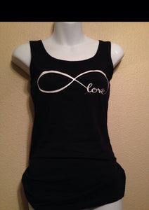 Infinity Love Tank Top, Women's Glitter Sparkly Shirt