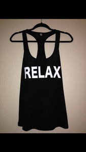 RELAX Womens Racerback Tank Top | Workout Tank Top Exercise Gym Shirt Women's Tank Top | Women's Shirt