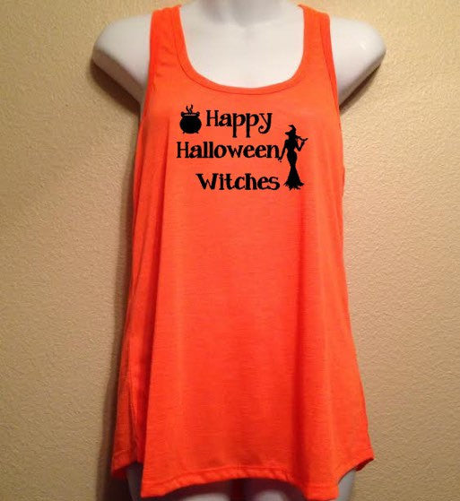 Women's Halloween Tank Top, Happy HALLOWEEN WITCHES Trick or Treat Costume, Funny Women's Shirt