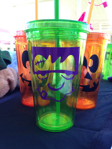 Halloween Cup Frankenstein HALLOWEEN Green Tumbler Cup Drinkware Sippy Cup Kids Mom Dad | Trick or Treat