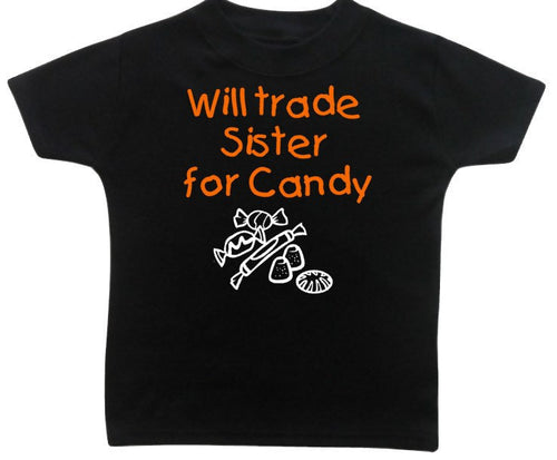 Kids Halloween Shirt, Will TRADE Sister Brother for CANDY, Trick or Treat Siblings