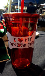 I Love My Rescue Dog Tumbler / Custom Drinkware Water Bottle / Dog Mom Dog Dad / I Love Dogs / Adopt