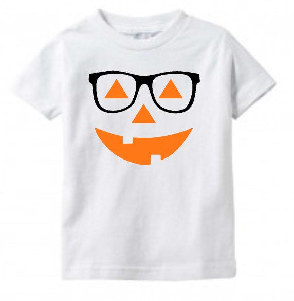 Kids Halloween Shirt Pumpkin Face with Glasses, Baby Toddler Tee