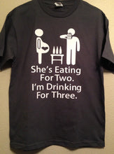 She's Eating For Two, I'm Drinking For Three. Men's pregnancy shirt