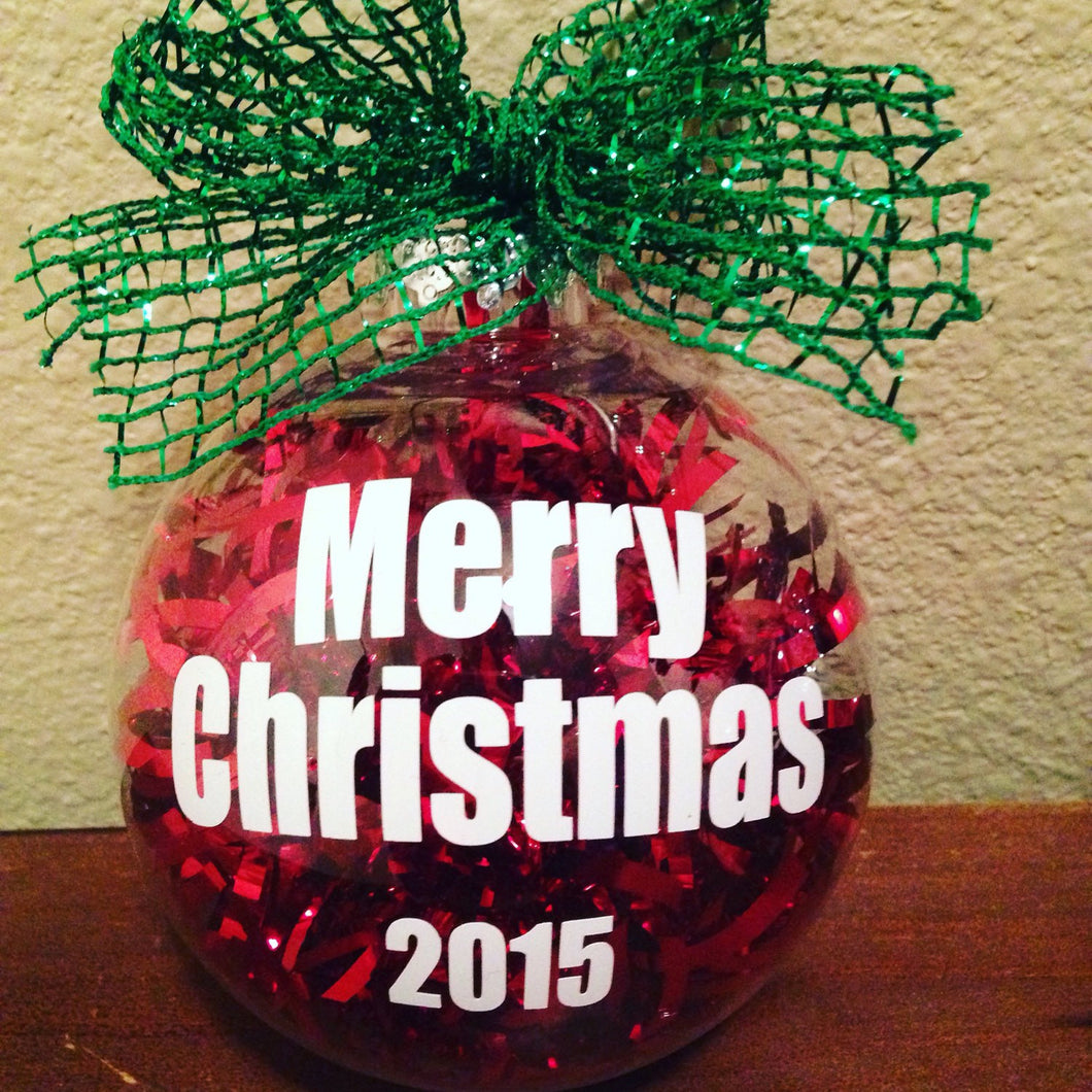 Christmas Ornament 2017, MERRY CHRISTMAS, Red Christmas Ornament, Tree Decor Bulb