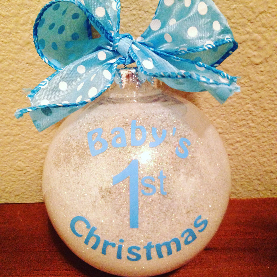 BABY'S FIRST Christmas Ornament, Baby Boy, Blue