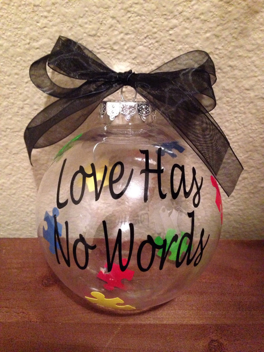 Autism Awareness Christmas Ornament Love Has No Words, Puzzle Piece, Christmas Tree Decor Bulb