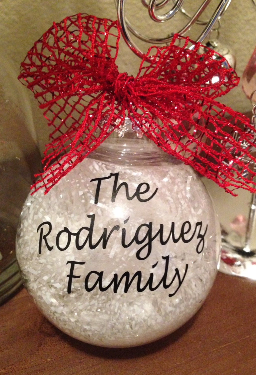 CHRISTMAS ORNAMENT Family Name Last Name Ornament, Merry Christmas, Personalized Bulb