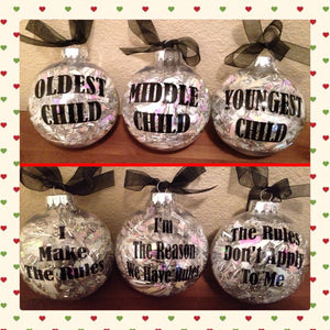 CHRISTMAS Ornaments Christmas Tree Decor, Oldest Middle Youngest Child, Sibling Ornaments