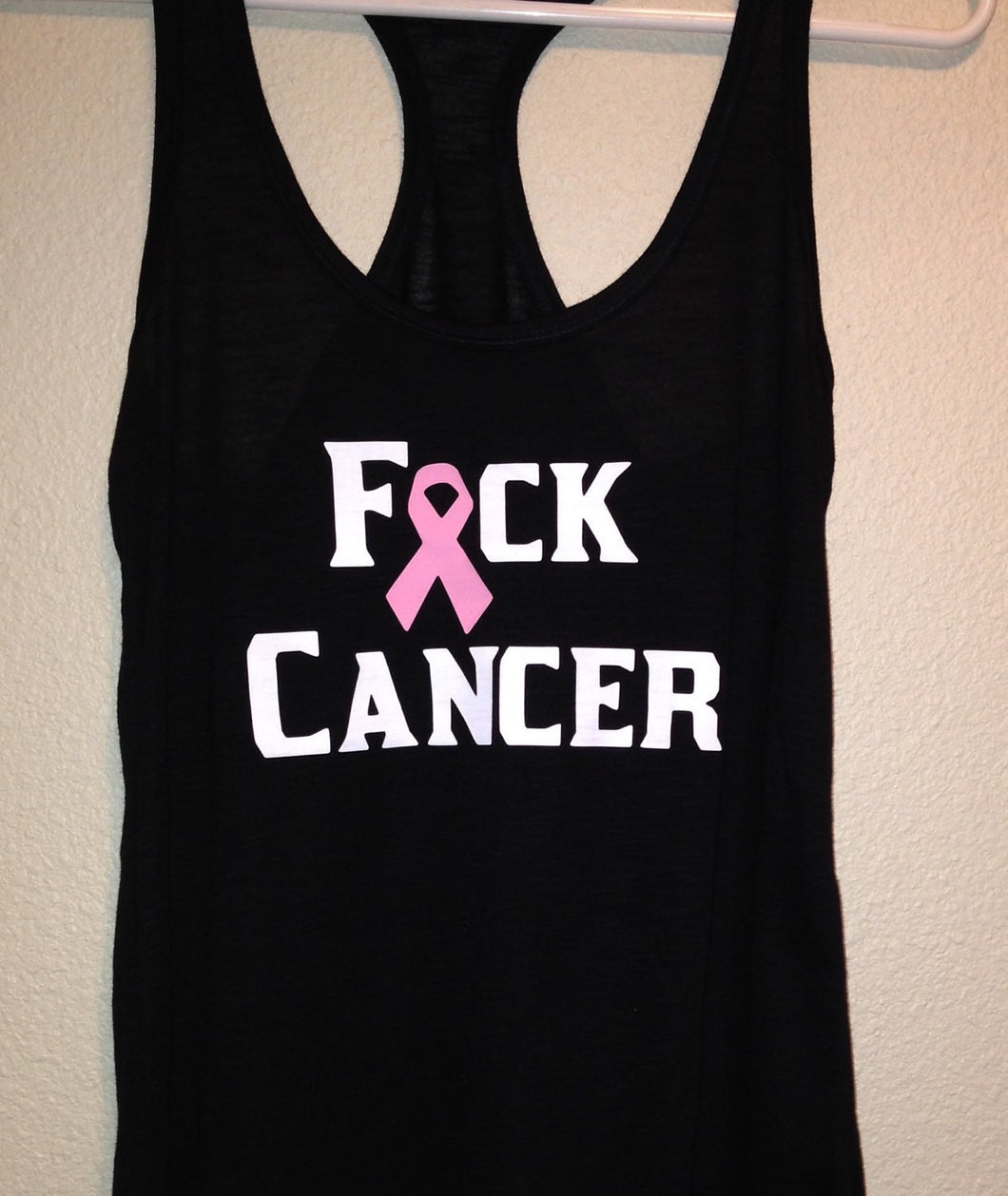 F Cancer Womens Racerback Tank Top, Breast Cancer Awareness, Love Family, Support | Any Color Ribbon