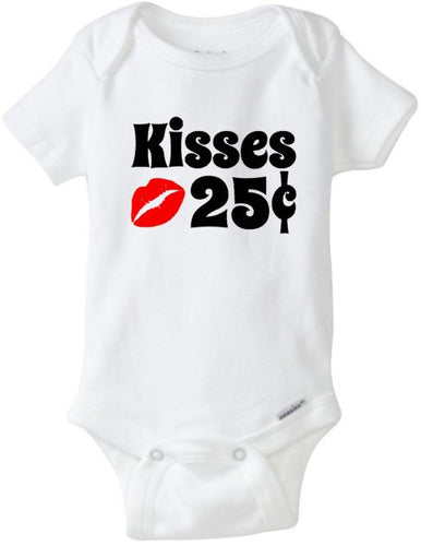 Valentine's Day Baby Onesie, My First Valentines Day, Kisses 25 Cents Love