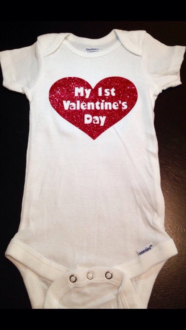 My First Valentines Day Baby Onesie, Glitter Heart,  Baby Girls 1st