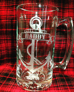 Daddy Beer Mug Etched, Anchor Nautical Captain Oversized Large Beer Stein, Dad Father Beer Mug