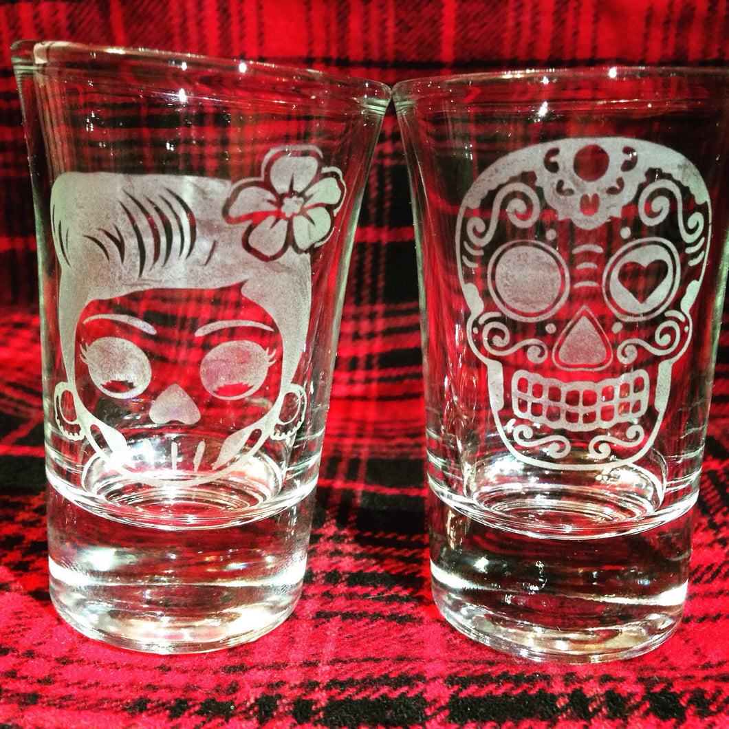 Halloween Sugar Skulls Shot Glasses, Dia De Los Muertos, Day of the Dead