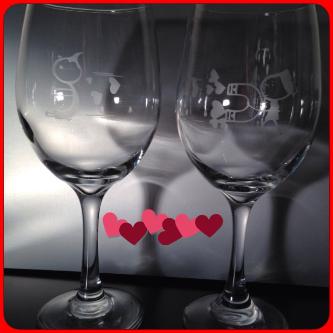 Valentines Wine Glasses Etched, Cupid Hearts, Valentine's Day Gift