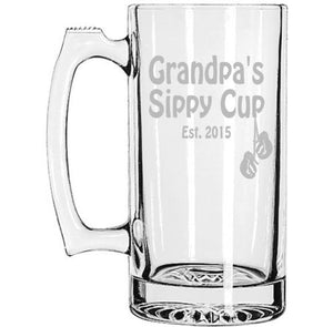 Grandpa's Sippy Cup, Grandpa's Beer Mug with Boxing Gloves, Fathers Day Birthday New Baby, Etched Beer Mug