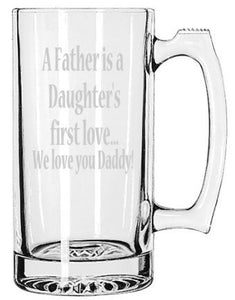 Father's Day Beer Mug, I Love Daddy Etched Beer Mug, Daddy and Daughter, Dads Beer, Daughters First Love