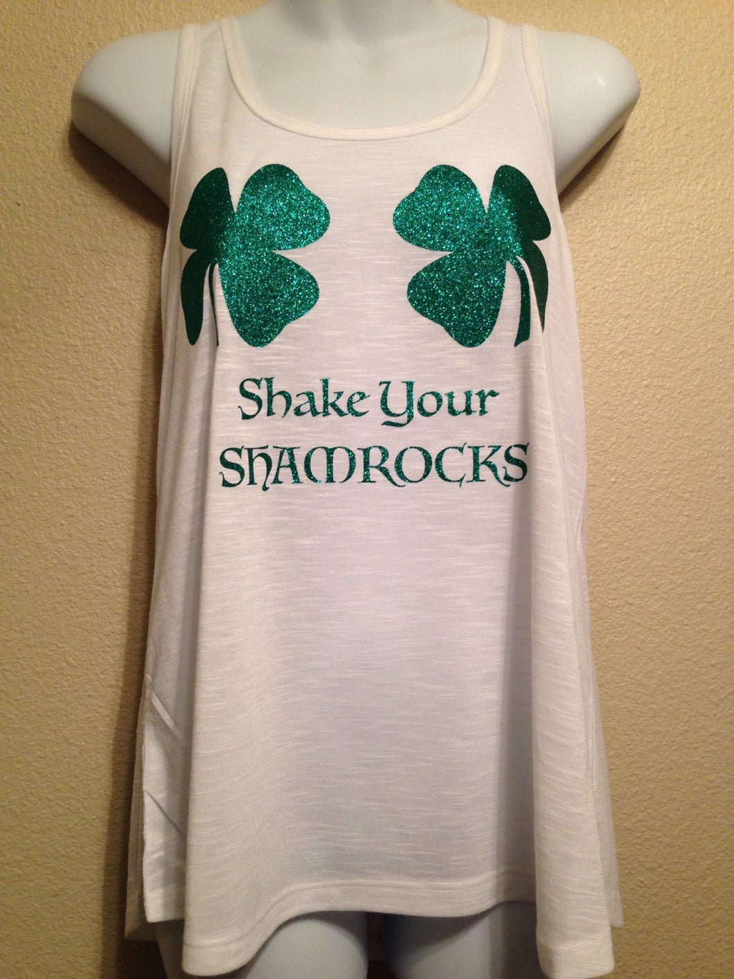SHAKE your SHAMROCKS Womens PLUS Size Tank Top, St Patricks Day Lucky Clovers|