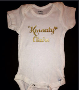 Baby Girl Onesie | Monogram Gold Sparkle Shirt | New Baby | Baby Shower | Custom Onesie