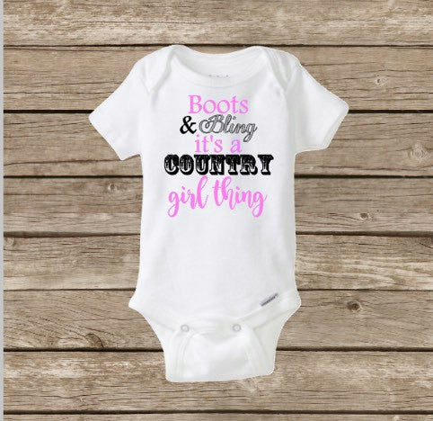 Country Girl Baby Onesie, Boots & Bling, Cowgirl Onesie