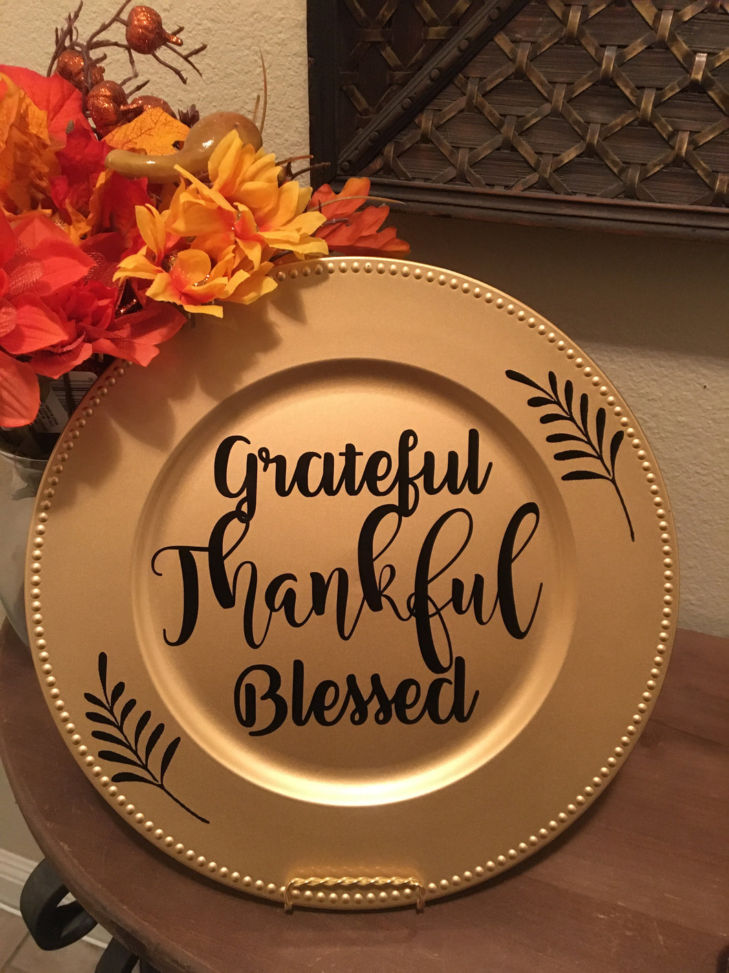 Grateful Thankful & Blessed Plate, Thanksgiving Fall Decor