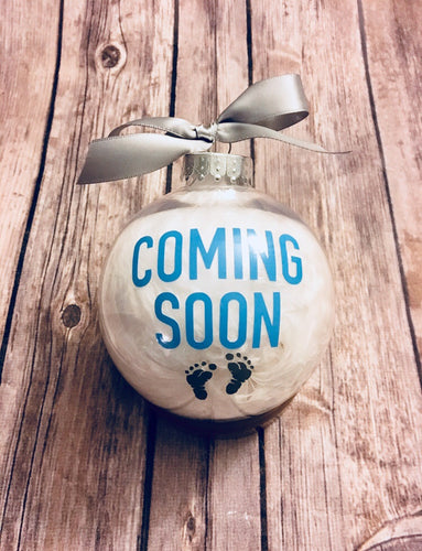 Coming Soon Baby Christmas Ornament Announcement