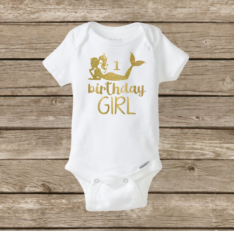 Mermaid Birthday Girl Onesie, Little Mermaid, Under the Sea, Happy Birthday