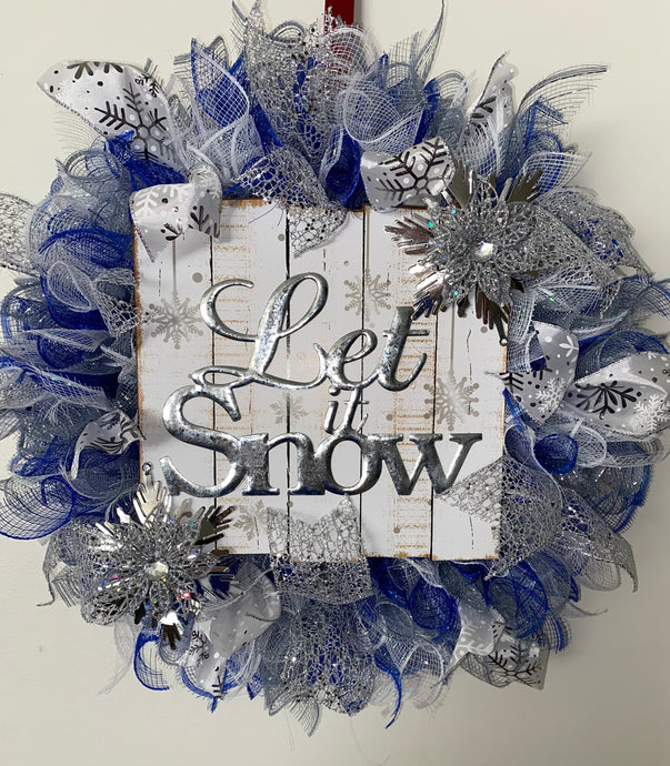 Let it Snow Handmade Christmas Holiday Wreath