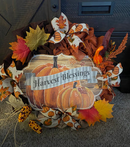 Harvest Blessings Handmade Fall Wreath